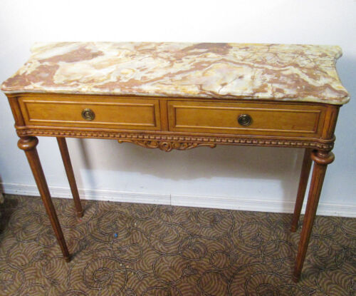 58026 MARBLE TOP CONSOLE FOYER SOFA TABLE WITH DRAWERS