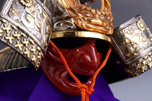 Japanese Samurai Kabuto -Dragon's Helmet- with a red mask