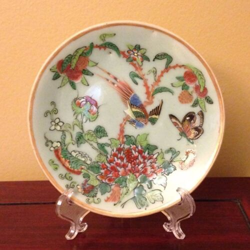 19th c Antique Chinese Famille Rose CELADON PLATE Birds/Butterfly/Floral-Signed