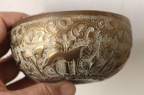 Antique Indo-Persian decorated brass bowl