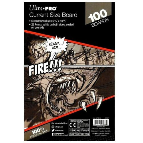 100 Pack of Current Size Comic Backing Boards White Ultra Pro Rigid Protection