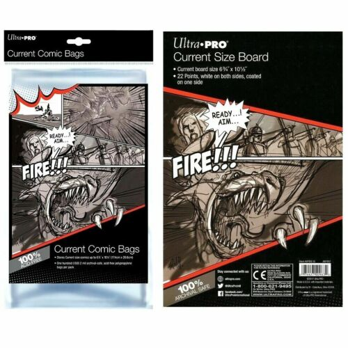 Ultra Pro Current Size Clear Comic Bags x 100 + White Backing Boards x 100