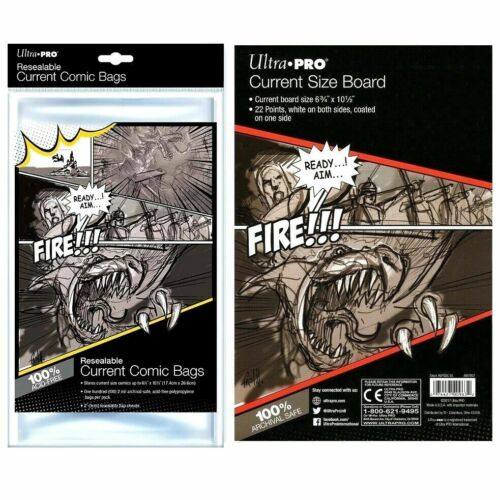 Ultra Pro Current Size Resealable Comic Bags x 100 + White Backing Boards x 100