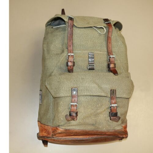 Swiss Vintage 1963-Bulach Salt and Pepper Leather and Canvas Rucksack BackpackOriginal Period Items - 13982