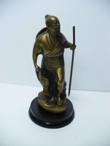 Brass Carved Asian Warrior Carrying Fish And Walking Stick