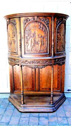ANTIQUE 19c DUTCH HALF-ROUND COMMODE CONSOL CORNISE-STYLE RELIF -CARVED CABINET