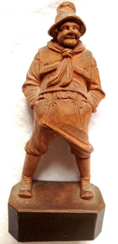 """Early Americana Vintage Wood Carving 7.5""""of  Fisherman or Sailor"""