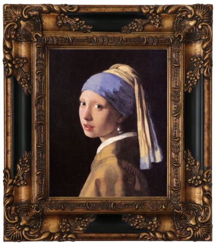 Vermeer The girl with a pearl earring Wood Framed Canvas Print Repro 8x10