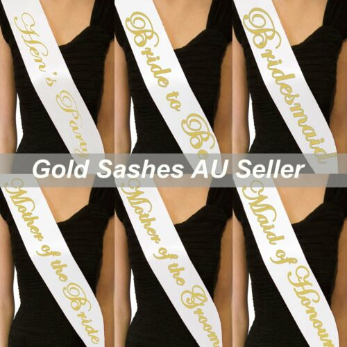 White Sashes Gold Text Hens Night Party Bridal Bride To Be Bridesmaid Wedding He