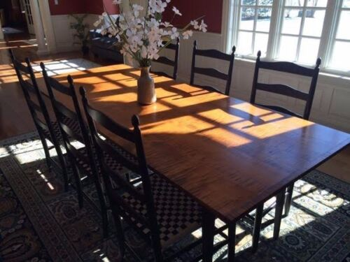 D.R. DIMES Dining Room  TIGER MAPLE Farm Table, Cupboard, Leaves, 10 Chairs