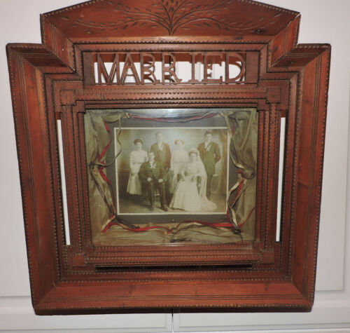Antique RARE Tramp ART Folk art ' MARRIED' Shadowbox Chip Picture Frame C.1900