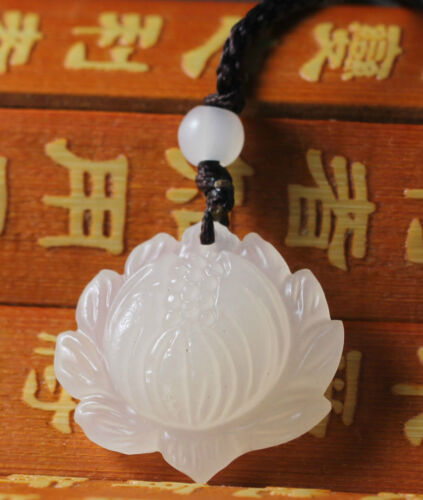Chinese natural beautiful white jade hand-carved lotus flower necklace pendant