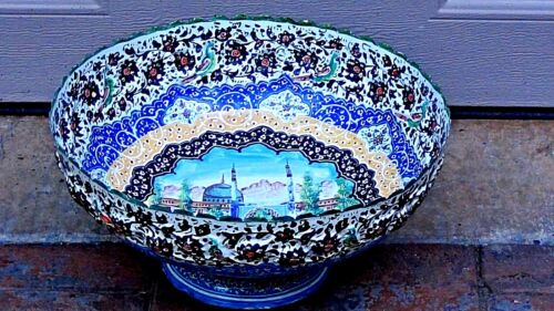 ANTIQUE  ISLAMIC LARGE ENAMELED HAND PAINTED OVER COPPER MOSQUE BOWL DISH