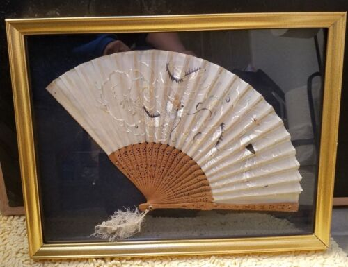 ANTIQUE CHINESE SILK FAN W/ WOOD - EMBROIDERED DRAGON IN THE CLOUDS - FRAMED