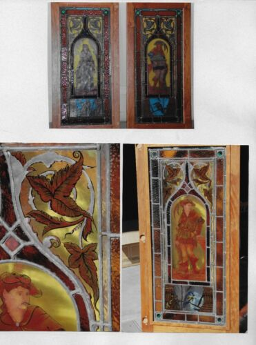 PAIR OF VINTAGE STAINED GLASS PANELS WITH MEDIEVAL FIGURES valued at $8800
