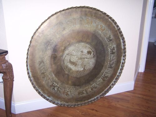 """Antique Large 45"""" Copper Brass Persian Turkish Tray Table Top Wall Art Bohemian"""