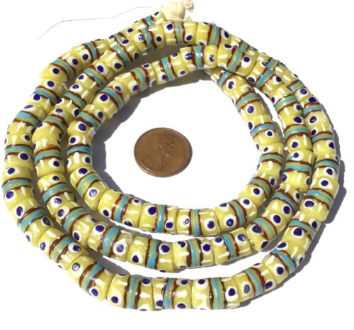 Ghana African Matched Lt Chartreuse Yellow Banded Recycled glass trade beads