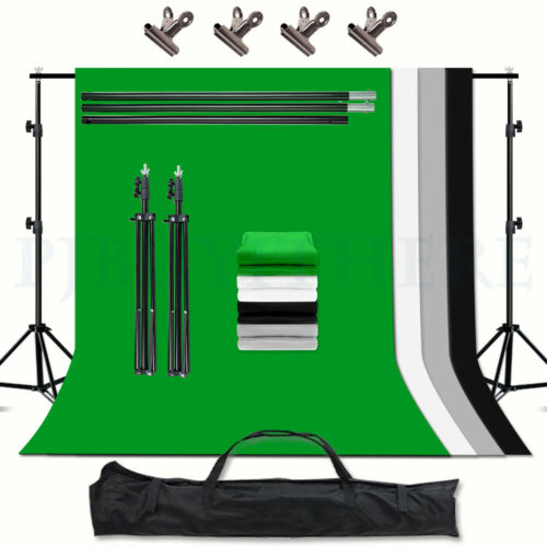 Photo Green Background Stand KIT+Studio Black Grey Screen White Backdrop Support <br/> 4XScreen=3M MAX✔4 Clips+BAG✔VOLKWELL✔Metal Support✔FAST