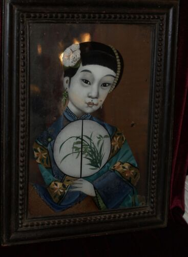 Chinese Painting of a lady reverse painting on mirror glass 19th century antiqu