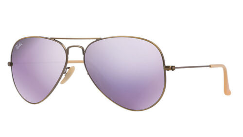 RAY-BAN WOMEN'S AVIATOR LILAC MIRROR FLASH BRONZE-COPPER FRAME RB3025 167/4K 58