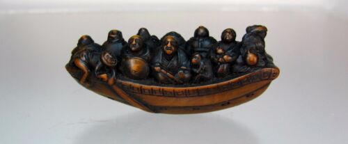 19th C. Japanese Boxwood Netsuke: Travelling Boat