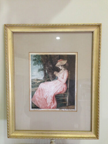 Vintage ETCHING ON SILK FRAMED VICTORIAN LADY Signed MADE IN AUSTRIA
