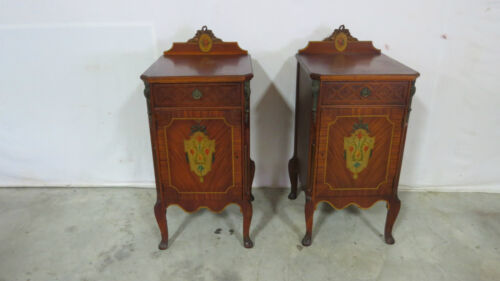 Pair French Tables Nightstands Stands Satinwood Rare