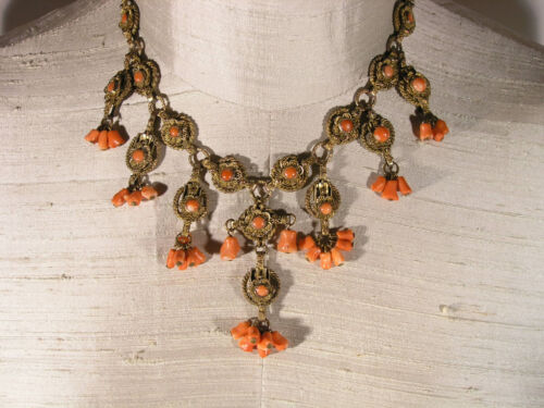 Beautiful Antique Chinese Metal Filigree & Coral Festoon Necklace with Drops