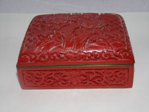 ANTIQUE BOX-ASIAN?CHINESE?CINNABAR-CARVED-RED-ENAMEL-BRASS?4 INCH-NR!