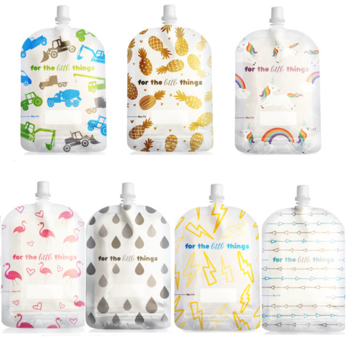 150ml Sinchies Reusable Food Pouches Unicorns Trucks Flamingo Pineapple Arrow  <br/> Top spouts BPA Free see through packs of 5/10/15/ mixed