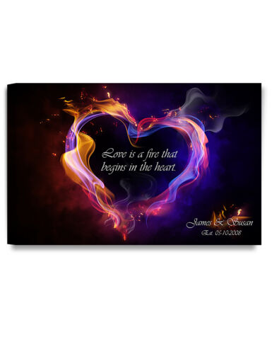 Personalized Canvas Prints  Love is a fire Love Gift ready to hang DecorArts