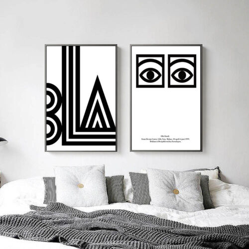 Abstract Eye Letters Minimalist Canvas Poster Black White Art Prints Home Decor