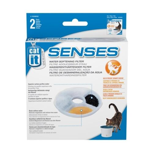 Catit Design Senses Pet Drinking Fountain Replacement Water Softening Filter 2pk