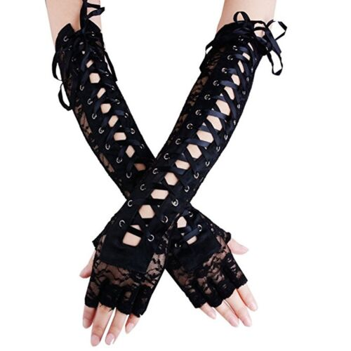 Women's Sexy Elbow Length Fingerless Lace Up Arm Warmer Black Long Lace Gloves