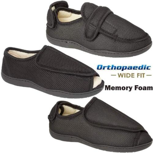 MENS LADIES New DIABETIC ORTHOPAEDIC EASY CLOSE WIDE FITTING SLIPPERS SHOES SIZE