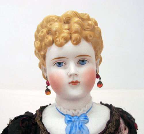 """Antique 1870's Blonde Parian Doll Bisque Molded Collar Pierced Ears 21"""" Tall yqz"""