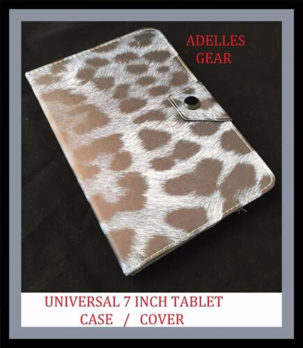 GREY LEOPARD PRINT UNIVERSAL 7 INCH ANDROID TABLET CASE COVER GREY BLACK LEOPARD