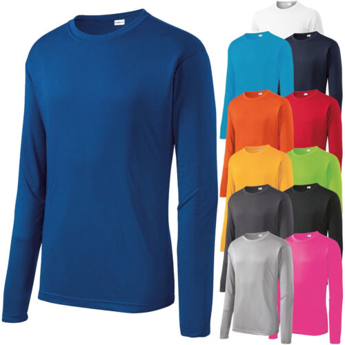 Mens Dri-Fit Long Sleeve Moisture Wicking Workout Base Layer T-Shirt XS-4XL NEW!