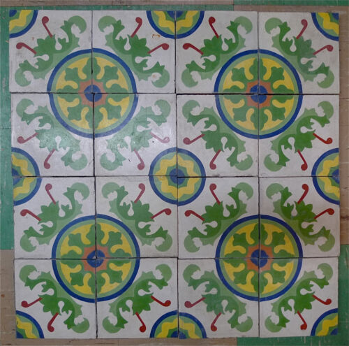 California Spanish Cement Tile Set of 16 Geometric Vintage