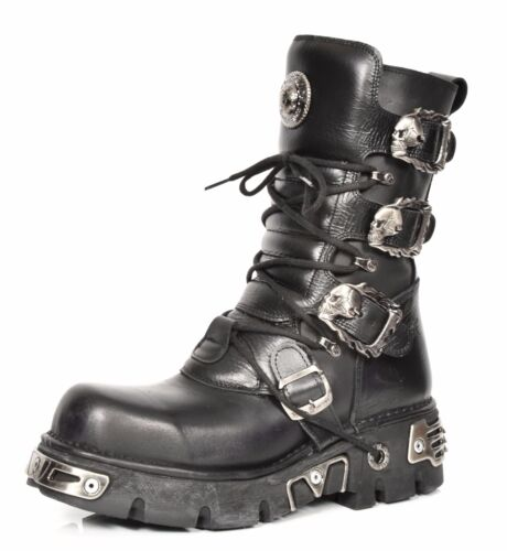 New Rock Leather Boots Lace up Shoes Retro Style Skull Buckle Design Black