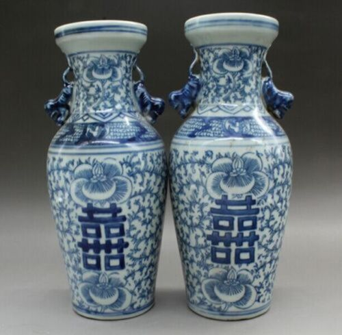 A pair China Old of blue and white porcelain vase double happiness