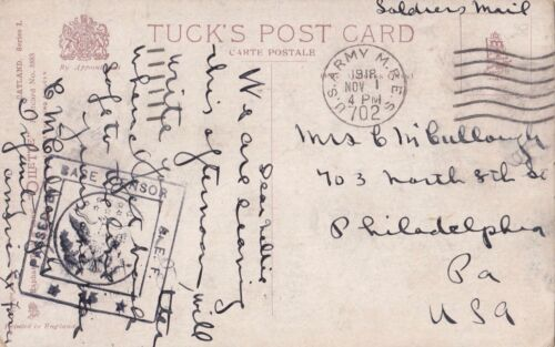 WW1 USA 1918 cat postcard from US Army M.B.E.S 707 postmark to America censored