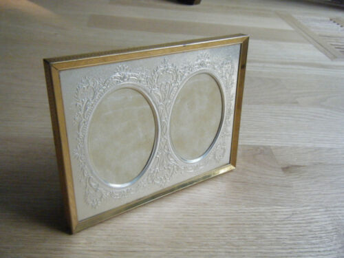 Antique Tabletop Double Photo Picture Brass Frame Tin Ornate Insert