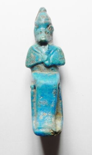 ZURQIEH - ANCIENT EGYPTIAN HUGE FAIENCE AMULET OF A SEATED BABOON, 600 - 300 B.C
