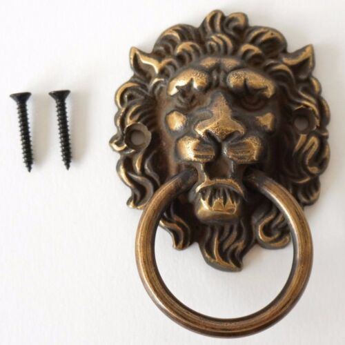 Lion Brass Door Knocker Vintage Antique Victorian Metal Solid