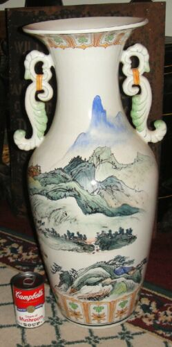 Superb Chinese Or Japanese Very Large Floor Urn Vase-Painted Scenes-Two Handles