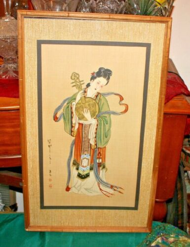 Antique Japanese Painting Geisha Girl Playing String Guitar Signed Stamped Asian