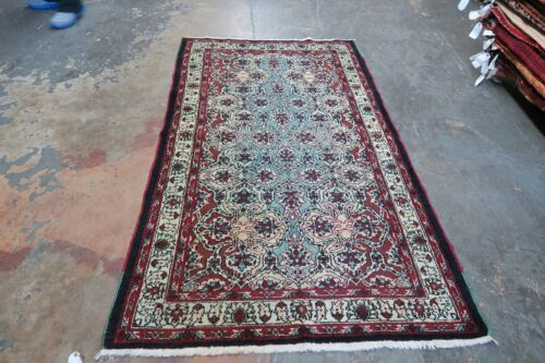 Antique Decorative India Amritsar Hand Knotted Wool Oriental Rug Agra 4' x 6'10