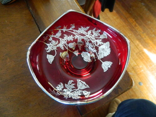 beautiful ruby red glass bon bon dish with silver flowers & trim candy nut bowl
