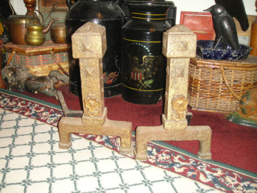 Antique Cast Metal Andirons-Gothic Medieval Arts & Crafts Andirons-Fireplace